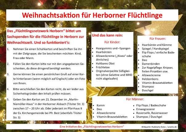Plakat - Weihnachten für Flüchtlinge in Herborn 2015